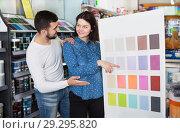 Купить «Couple deciding on best color scheme», фото № 29295820, снято 9 марта 2017 г. (c) Яков Филимонов / Фотобанк Лори