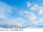 Купить «Blue sky background with dramatic colorful clouds and sunlight. Beautiful sky landscape view», фото № 29296412, снято 27 апреля 2018 г. (c) Зезелина Марина / Фотобанк Лори
