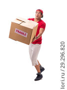 Купить «Handsome contractor holding fragile box isolated on white», фото № 29296820, снято 6 июля 2018 г. (c) Elnur / Фотобанк Лори