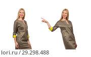 Купить «Blondie in gray satin dress isolated on white», фото № 29298488, снято 17 сентября 2014 г. (c) Elnur / Фотобанк Лори