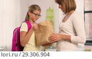 Купить «loving mother giving school lunch to daughter», видеоролик № 29306904, снято 19 октября 2018 г. (c) Syda Productions / Фотобанк Лори