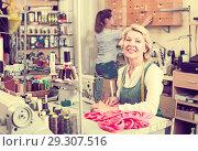 Купить «Two women sewing with professional equipment», фото № 29307516, снято 11 декабря 2018 г. (c) Яков Филимонов / Фотобанк Лори