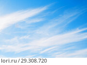 Купить «Blue sky background with white dramatic colorful clouds and sunlight. Beautiful sky landscape», фото № 29308720, снято 16 октября 2018 г. (c) Зезелина Марина / Фотобанк Лори