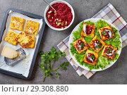 Купить «Polenta Squares open sandwiches, top view», фото № 29308880, снято 24 октября 2018 г. (c) Oksana Zh / Фотобанк Лори
