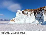 Купить «Lake Baikal in February. Bright winter landscape with icy white rocks against a blue sky», фото № 29308932, снято 11 февраля 2018 г. (c) Виктория Катьянова / Фотобанк Лори