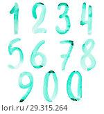 Купить «Green watercolor numbers», иллюстрация № 29315264 (c) Роман Сигаев / Фотобанк Лори