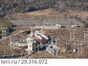 Купить «Power electrical generating plant which made by water power of the dam in Russia, Krasnoyarsk», фото № 29316072, снято 21 января 2019 г. (c) Владимир Пойлов / Фотобанк Лори