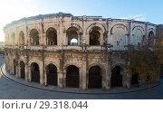 Купить «Ancient Roman amphitheater arena in Nimes, France», фото № 29318044, снято 1 декабря 2017 г. (c) Яков Филимонов / Фотобанк Лори