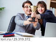 Купить «Concept of teamwork with prize», фото № 29319372, снято 24 ноября 2017 г. (c) Elnur / Фотобанк Лори