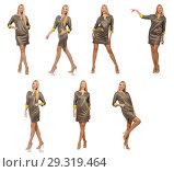 Купить «Blondie in gray satin dress isolated on white», фото № 29319464, снято 17 сентября 2014 г. (c) Elnur / Фотобанк Лори