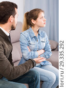 Купить «Father and daughter arguing», фото № 29335292, снято 4 марта 2017 г. (c) Яков Филимонов / Фотобанк Лори