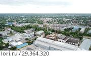 Купить «Panoramic aerial view of district of Gus-Khrustalny, Vladimir region, Russia», видеоролик № 29364320, снято 27 июня 2018 г. (c) Яков Филимонов / Фотобанк Лори