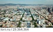 Купить «Panoramic view of modern areas in coastal zone of Barcelona», видеоролик № 29364364, снято 23 июля 2018 г. (c) Яков Филимонов / Фотобанк Лори