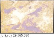 Купить «Оборотная сторона старой фотографии, испачканной засохшим клеем и остатками оторванной бумаги фиолетового цвета», иллюстрация № 29365380 (c) александр афанасьев / Фотобанк Лори