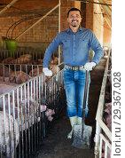 Купить «Man farmer standing in pigsty», фото № 29367028, снято 14 октября 2019 г. (c) Яков Филимонов / Фотобанк Лори