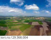 Купить «Aerial view of hilly agricultural fields», фото № 29368004, снято 17 февраля 2018 г. (c) Михаил Коханчиков / Фотобанк Лори