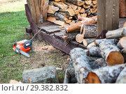 Купить «Заготовка дров при помощи электрической пилы», фото № 29382832, снято 3 мая 2016 г. (c) Кекяляйнен Андрей / Фотобанк Лори