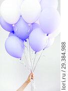 Купить «Colourful balloons, pink, white, streamers. Helium Ballon floating in birthday party. Concept balloon of love and valentine», фото № 29384988, снято 29 апреля 2018 г. (c) Сергей Тимофеев / Фотобанк Лори