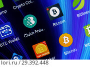 Купить «Adygea, Russia - February 12, 2018: mobile application for bitcoin on the smart phone screen», фото № 29392448, снято 12 февраля 2018 г. (c) Андрей С / Фотобанк Лори