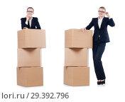 Купить «Woman businesswoman with boxes on white», фото № 29392796, снято 22 августа 2013 г. (c) Elnur / Фотобанк Лори