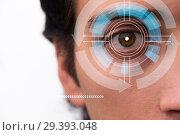 Купить «Concept of sensor implanted into human eye», фото № 29393048, снято 14 ноября 2018 г. (c) Elnur / Фотобанк Лори