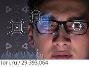 Купить «Concept of sensor implanted into human eye», фото № 29393064, снято 14 ноября 2018 г. (c) Elnur / Фотобанк Лори