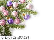 Купить «Christmas decorations. Decorated spruce branch», фото № 29393628, снято 6 ноября 2018 г. (c) Юлия Бабкина / Фотобанк Лори