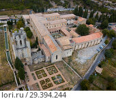 Купить «Aerial view of Castle of Abbey Sainte-Marie d'Orbieu in Lagrasse», фото № 29394244, снято 6 октября 2018 г. (c) Яков Филимонов / Фотобанк Лори