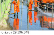 Купить «Work janitors wash the sidewalk with a stream of water from a hose on the Moscow Highway on a spring sunny day.», фото № 29396348, снято 10 мая 2017 г. (c) Акиньшин Владимир / Фотобанк Лори