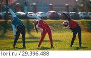 Купить «People in sport costumes warming up in park», видеоролик № 29396488, снято 23 июля 2019 г. (c) Константин Шишкин / Фотобанк Лори