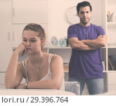Купить «Upset woman at table after discord with husband», фото № 29396764, снято 22 мая 2019 г. (c) Яков Филимонов / Фотобанк Лори