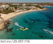 Купить «Ayia Napa, Cyprus - November 1. 2018. View from above on Makronissos Beach Resort», фото № 29397116, снято 1 ноября 2018 г. (c) Володина Ольга / Фотобанк Лори