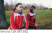 Купить «Two young woman in sport costumes doing leg lunges in park close up», видеоролик № 29397552, снято 23 июля 2019 г. (c) Константин Шишкин / Фотобанк Лори