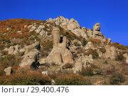 Купить «Valley of stone ghosts in the mountains Demerdzhi in the autumn Crimea», фото № 29400476, снято 12 октября 2018 г. (c) Яна Королёва / Фотобанк Лори