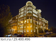 Купить «Night illumination of a building in the Gothic style. Baku city. Republic of Azerbaijan», фото № 29400496, снято 23 сентября 2018 г. (c) Евгений Ткачёв / Фотобанк Лори