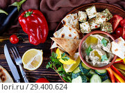 Купить «platter with vegetables and baba ganoush dip», фото № 29400624, снято 30 августа 2018 г. (c) Oksana Zh / Фотобанк Лори