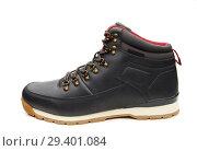 Купить «Close up view of a modern black man boot isolated», фото № 29401084, снято 9 ноября 2018 г. (c) Restyler Viacheslav / Фотобанк Лори