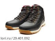 Купить «Dark black boots with shoelace on white background.», фото № 29401092, снято 9 ноября 2018 г. (c) Restyler Viacheslav / Фотобанк Лори