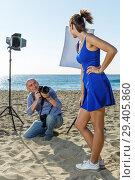 Купить «Professional photo shooting outdoors», фото № 29405860, снято 5 октября 2018 г. (c) Яков Филимонов / Фотобанк Лори