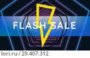 Купить «Digitally generated video of flash sale 4k», видеоролик № 29407312, снято 25 мая 2019 г. (c) Wavebreak Media / Фотобанк Лори