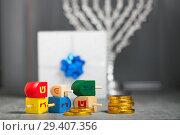 Купить «The Religious symbols of Jewish holiday Hanukkah», фото № 29407356, снято 10 ноября 2018 г. (c) Константин Сенявский / Фотобанк Лори