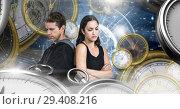 Купить «Couple in surreal time and space with clocks», фото № 29408216, снято 19 января 2019 г. (c) Wavebreak Media / Фотобанк Лори