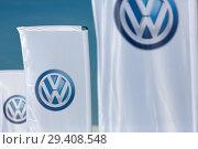 Купить «Poland, VW logos at Volkswagen Poznan», фото № 29408548, снято 24 мая 2018 г. (c) Caro Photoagency / Фотобанк Лори