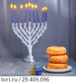 Купить «The Religious symbols of Jewish holiday Hanukkah», фото № 29409096, снято 10 ноября 2018 г. (c) Константин Сенявский / Фотобанк Лори