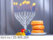 Купить «The Religious symbols of Jewish holiday Hanukkah», фото № 29409284, снято 10 ноября 2018 г. (c) Константин Сенявский / Фотобанк Лори