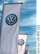 Купить «Poland, VW logos at Volkswagen Poznan», фото № 29409332, снято 24 мая 2018 г. (c) Caro Photoagency / Фотобанк Лори
