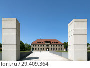 Купить «Bavaria, Germany - Flossenbuerg concentration camp memorial, SS commandant's office, stones in front symbolize former camp gate», фото № 29409364, снято 5 мая 2018 г. (c) Caro Photoagency / Фотобанк Лори