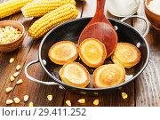 Купить «Corn pancake on the table», фото № 29411252, снято 26 марта 2018 г. (c) Надежда Мишкова / Фотобанк Лори