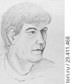 Купить «Portrait of a young man. Pencil drawing on paper», иллюстрация № 29411468 (c) Олег Хархан / Фотобанк Лори