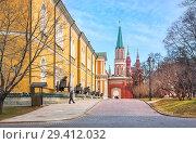 Купить «Здание Арсенала и Никольская башня в Кремле», фото № 29412032, снято 1 марта 2014 г. (c) Baturina Yuliya / Фотобанк Лори